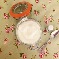 Homemade whipped coconut lotion with frankincense and vitamin E.